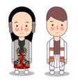 traditional national clothes of serbia set of vector image vector image