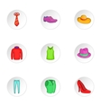 Types of clothes icons set cartoon style vector image vector image