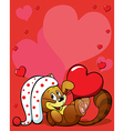 valentines background with cute cat vector image