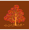 Vintage colors leaves tree vector image