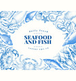 vintage seafood and fish restaurant vector image vector image