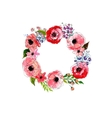 Watercolor flowers wreath vector image vector image