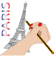 Woman draws the Eiffel Tower vector image vector image