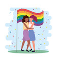 women couple together in lgbt parade vector image vector image