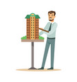 young architect man presenting model of building vector image vector image