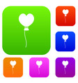balloon in the shape of heart set color collection vector image