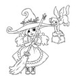 a little witch with a broom a cat and a pot vector image vector image