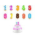 birthday candles cake with numeral cand vector image vector image