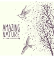 branches and birds grunge vector image vector image