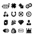 Casino icons set simple style