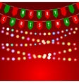 christmas card with decorations flags vector image vector image