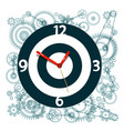 clock face symbol with cogs on background vector image vector image