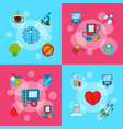 colored diabetes icons infographic concept vector image vector image