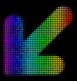 colored pixel arrow down left icon vector image vector image