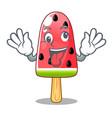 crazy ice cream watermelon on shape mascot vector image vector image