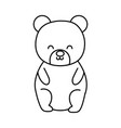 cute bear toy sitting on white background thick vector image vector image