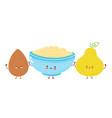 cute bowl oatmeal porridgealmond and pear vector image vector image