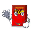 doctor red passport in the character shape vector image