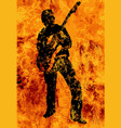flaming guitarist with electric guitar vector image vector image