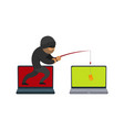 flat hacker stealing card by fishing rod vector image vector image