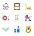 flat icon baby set of rattle stroller baby plate vector image vector image