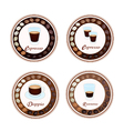 Four Type of Hot Coffee in Retro Round Label vector image vector image