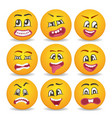 funny smileys faces isolated icon set vector image
