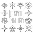 futuristic snowflake set outlined on white vector image vector image