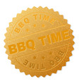 gold bbq time badge stamp vector image vector image