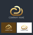 gold cloud technology logo vector image vector image