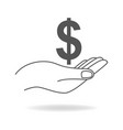 hand holding a dollar currency symbol vector image vector image