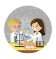 happy classmates make experiments in laboratory vector image