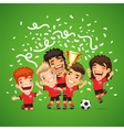 Happy Soccer champions with winners cup vector image vector image