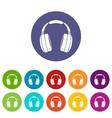 Headphones set icons vector image vector image