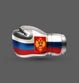 isolated boxing glove russian flag realistic 3d vector image vector image