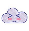 kawaii nice funny cloud emoji vector image vector image