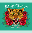 leopard head with roses print vector image vector image