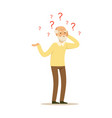 male character old alzheimers colourful vector image