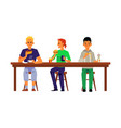 men characters eating in cafe or restaurant flat vector image vector image