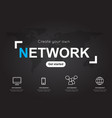 network icons with world black map for business vector image vector image