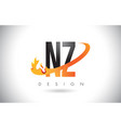 nz n z letter logo with fire flames design and vector image vector image