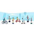 people ride eco friendly transport vector image