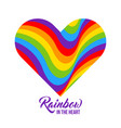 rainbow colored heart lgbt colors vector image vector image