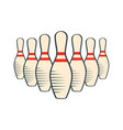 retro bowling pins isolated on white background vector image
