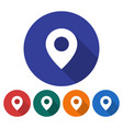 round icon of location flat style with long vector image