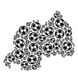 rwanda map composition of soccer spheres vector image vector image