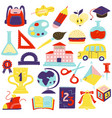 schcool accessories symbols icons set vector image