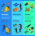 scuba diving signs 3d banner vecrtical set vector image vector image