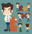 Set of businessman holding up jigsaw puzzle pieces vector image