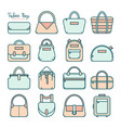 set of colored fashion bag line icons vector image